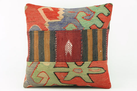 Patchwork Kilim  pillow case 16,  throw  cushion, ethnic decor,  Mediterranean  decor,  2204 - kilimpillowstore  - 1