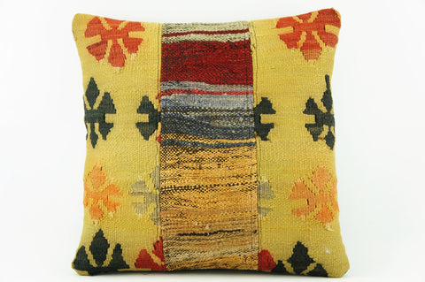 Yellow Kilim  pillow case 16,  throw  cushion, ethnic decor,  Mediterranean  decor,  2214 - kilimpillowstore  - 1