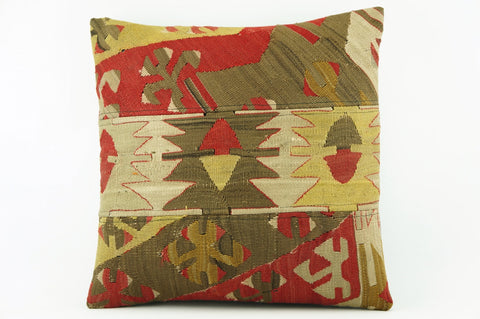 Cream / Beige Kilim  pillow cover 16,  throw  cushion, Mid century pillow, Euro sham  2218 - kilimpillowstore  - 1