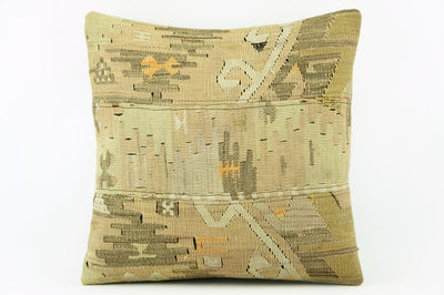 Cream / Beige Kilim  pillow cover 16,  throw  cushion, Mid century pillow, Euro sham  2219 - kilimpillowstore  - 1