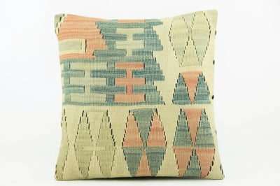 Kilim  pillow cover 16, throw cushion, Ethnic pillow, Boho pillow  ,teal ,blue , beige 2278_A - kilimpillowstore  - 1