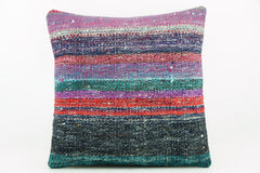 Striped multicolor Kilim  pillow cover 16, Boho pillow , soft colours 2283_A - kilimpillowstore  - 1
