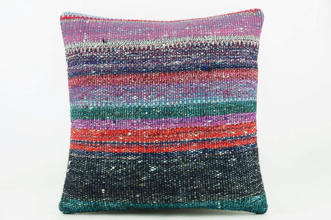 Striped multicolor Kilim  pillow cover 16, Boho pillow , soft colours 2284_A - kilimpillowstore  - 1