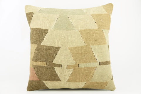 Geometric beige, cream, green, brown  Kilim  pillow cover 16, Boho pillow , soft colours 2298_A - kilimpillowstore  - 1