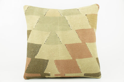 Geometric beige, cream, green, brown  Kilim  pillow cover 16, Boho pillow , soft colours 2300_A - kilimpillowstore  - 1