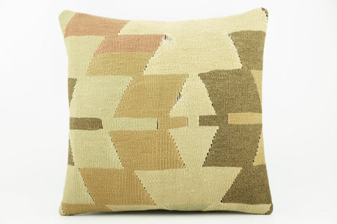 Geometric beige, cream, green, brown  Kilim  pillow cover 16, Boho pillow , soft colours 2304_A - kilimpillowstore  - 1