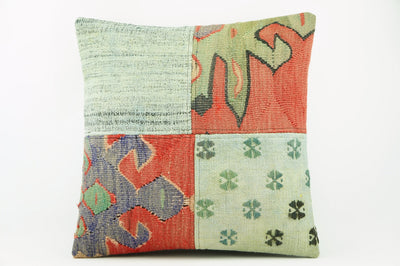 Green patchwork  Kilim  pillow cover   2269 - kilimpillowstore  - 1