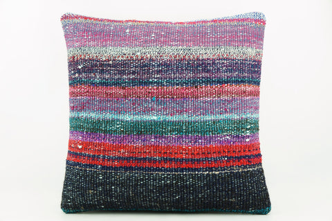 Striped multicolor Kilim  pillow cover 16, Boho pillow , soft colours 2285_A - kilimpillowstore  - 1
