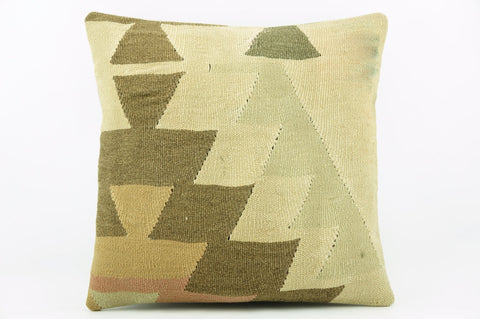 Geometric beige, cream, green, brown  Kilim  pillow cover 16, Boho pillow , soft colours 2291_A - kilimpillowstore  - 1