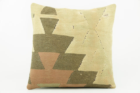 Geometric beige, cream, green, brown  Kilim  pillow cover 16, Boho pillow , soft colours 2302_A - kilimpillowstore  - 1