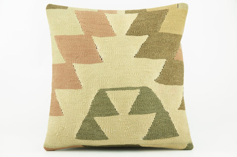 Geometric beige, cream, green, brown  Kilim  pillow cover 16, Boho pillow , soft colours 2303_A - kilimpillowstore  - 1