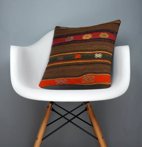 Brown,Striped  kilim pillow cover ,Boho  pillow ,Handwoven  pillow , Shabby chic home decor 2368 - kilimpillowstore  - 1