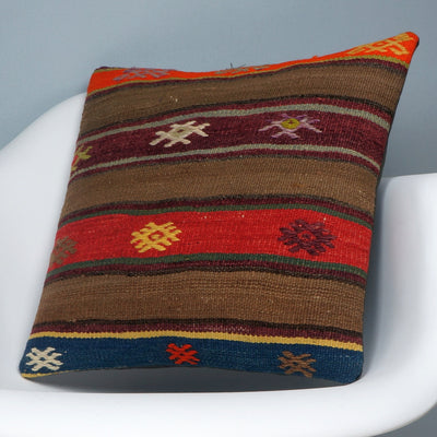 Brown,Striped  kilim pillow cover ,Boho  pillow ,Handwoven  pillow , Shabby chic home decor 2369 - kilimpillowstore  - 2