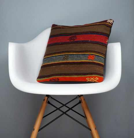 Brown,Striped  kilim pillow cover ,Boho  pillow ,Handwoven  pillow , Shabby chic home decor 2371 - kilimpillowstore  - 1