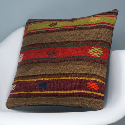 Brown,Striped  kilim pillow cover ,Boho  pillow ,Handwoven  pillow , Shabby chic home decor 2373 - kilimpillowstore  - 2
