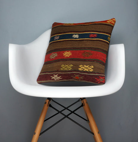 Brown,Striped  kilim pillow cover ,Boho  pillow ,Handwoven  pillow , Shabby chic home decor 2377 - kilimpillowstore  - 1