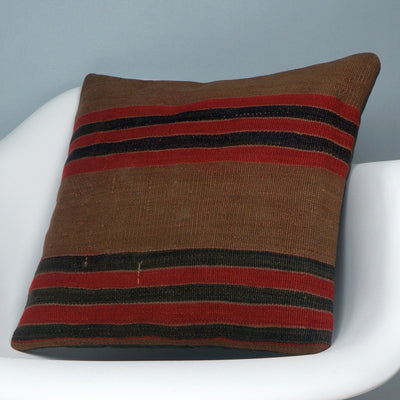 Brown, Red, Striped  Kilim  pillow cover ,Boho  pillow ,Handwoven kilim pillow , Shabby chic home decor 2389 - kilimpillowstore  - 2
