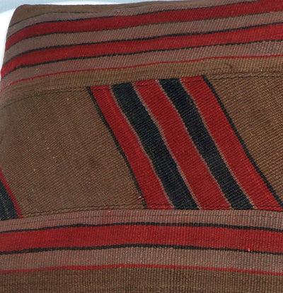 Striped Patchwork  Kilim  pillow cover  brown red black  2414 - kilimpillowstore  - 3
