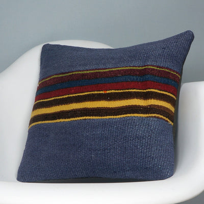 CLEARANCE Tribal Kilim pillow ,  patchwork pillow blue striped   2419 - kilimpillowstore  - 2