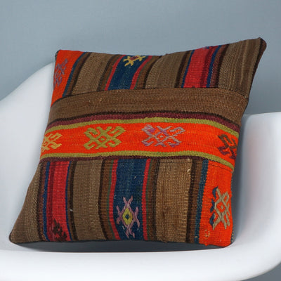 CLEARANCE Tribal Kilim pillow ,  patchwork pillow brown blue ornage striped   2420 - kilimpillowstore  - 2