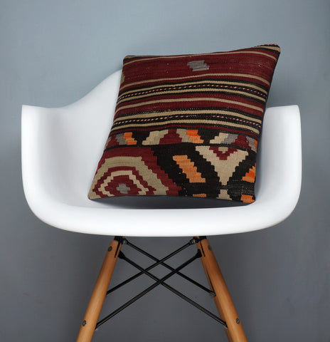 Hand embroidered  pillow cover , Mid century decor ,  Decorative kilim  pillow cover 2348 - kilimpillowstore  - 1