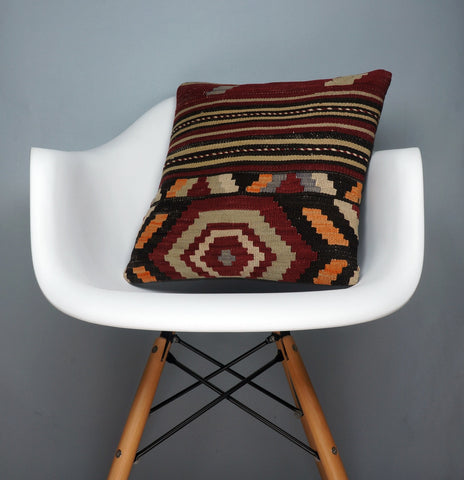 Hand embroidered  pillow cover , Mid century decor ,  Decorative kilim  pillow cover 2349 - kilimpillowstore  - 1