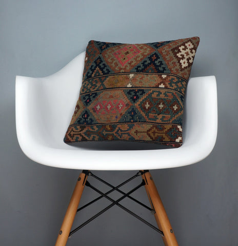 Kilim  pillow case 16,  throw  cushion, Mid century pillow, Euro sham  2354 - kilimpillowstore  - 1