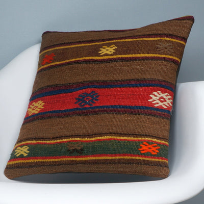 Brown,Striped  kilim pillow cover ,Boho  pillow ,Handwoven  pillow , Shabby chic home decor 2370 - kilimpillowstore  - 2