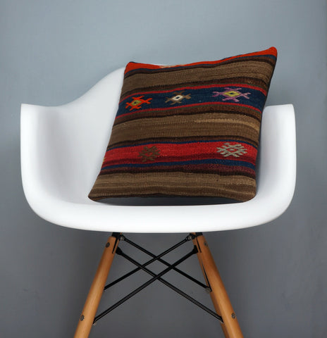Brown,Striped  kilim pillow cover ,Boho  pillow ,Handwoven  pillow , Shabby chic home decor 2372 - kilimpillowstore  - 1