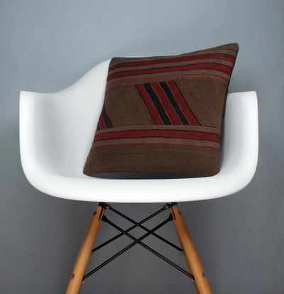 Striped Patchwork  Kilim  pillow cover  brown red black  2414 - kilimpillowstore  - 1