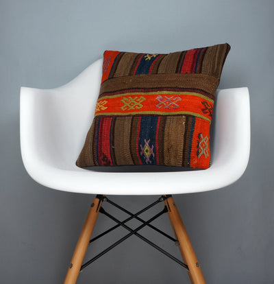 CLEARANCE Tribal Kilim pillow ,  patchwork pillow brown blue ornage striped   2420 - kilimpillowstore  - 1