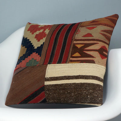 Patchwork Kilim  pillow case 16,  throw  cushion, ethnic decor,  Mediterranean  decor,  2439 - kilimpillowstore  - 2