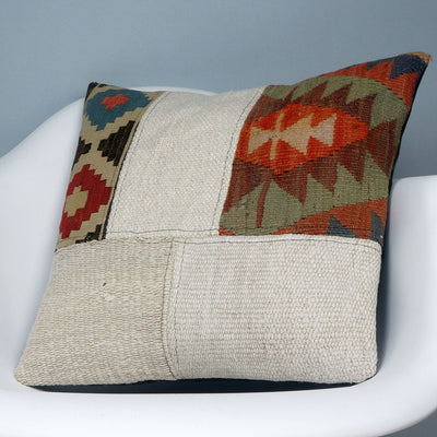Patchwork Kilim  pillow case 16,  throw  cushion, ethnic decor,  Mediterranean  decor,  2448 - kilimpillowstore  - 2