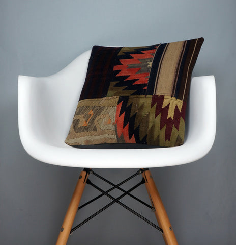 Chevron Patchwork Kilim  pillow case 16,  throw  cushion, ethnic decor,  Mediterranean  decor,  2496 - kilimpillowstore  - 1