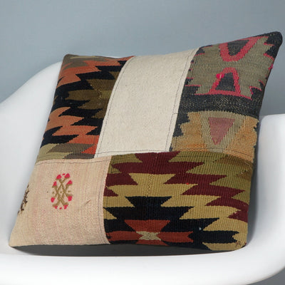 Chevron  Kilim  pillow cover, bohemian kilim pillow, Throw  pillow , Patchwork pillow case  2454 - kilimpillowstore  - 2