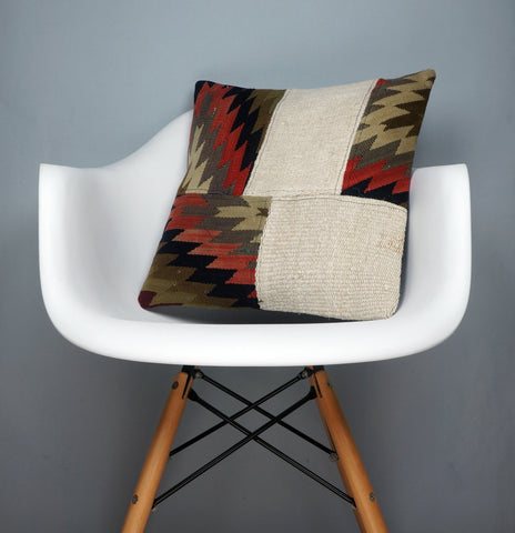 Chevron 16x16 Hand Woven wool tribal ethnic patchwork  Kilim Pillow cushion 2480 - kilimpillowstore  - 1
