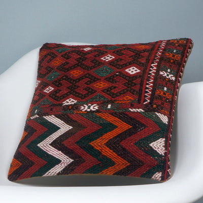 Geometric  handwoven chevron red black   pillow , Decorative Kilim pillow cover  2501 - kilimpillowstore  - 2
