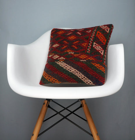 Geometric  handwoven chevron red black   pillow , Decorative Kilim pillow cover  2506 - kilimpillowstore  - 1
