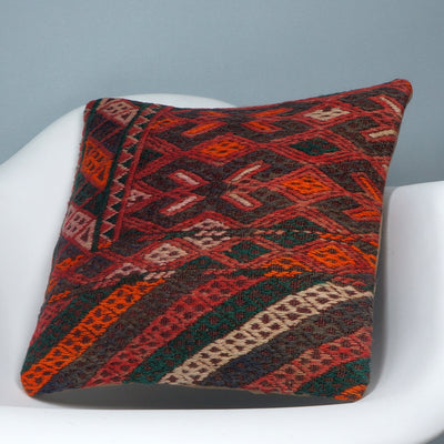 Geometric  handwoven chevron red black   pillow , Decorative Kilim pillow cover  2507 - kilimpillowstore  - 2