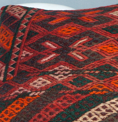 Geometric  handwoven chevron red black   pillow , Decorative Kilim pillow cover  2507 - kilimpillowstore  - 3
