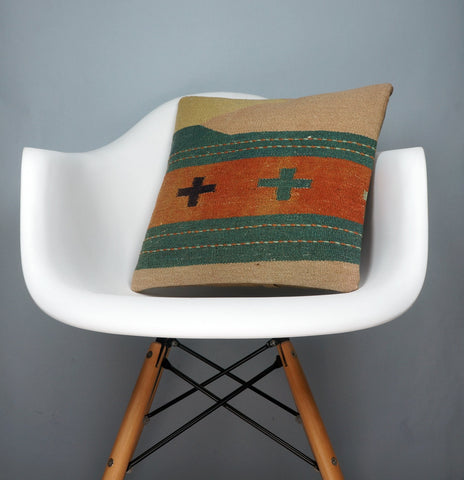 Orange Green Beige Striped  cushion cover,  Outdoor pillow case,  Bohemian kilim pillow cover 2541 - kilimpillowstore  - 1