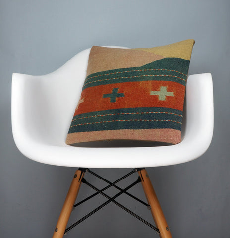 Orange Green Beige Striped  cushion cover,  Outdoor pillow case,  Bohemian kilim pillow cover 2545 - kilimpillowstore  - 1