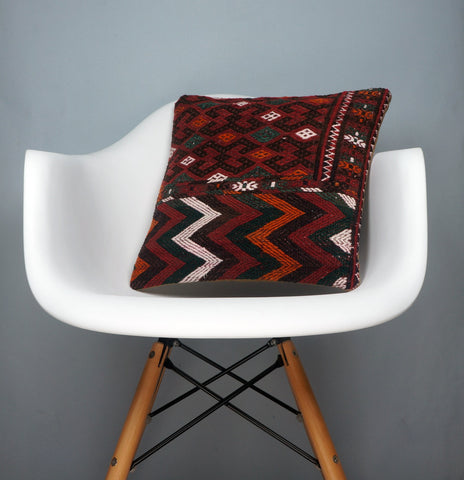 Geometric  handwoven chevron red black   pillow , Decorative Kilim pillow cover  2501 - kilimpillowstore  - 1
