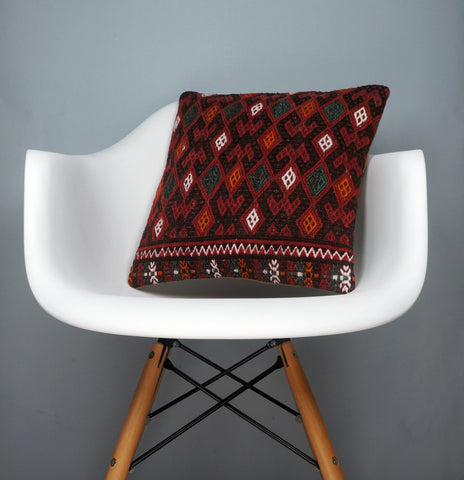 Geometric  handwoven chevron red black   pillow , Decorative Kilim pillow cover  2504 - kilimpillowstore  - 1