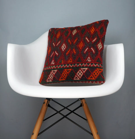 Geometric  handwoven chevron red black   pillow , Decorative Kilim pillow cover  2505 - kilimpillowstore  - 1