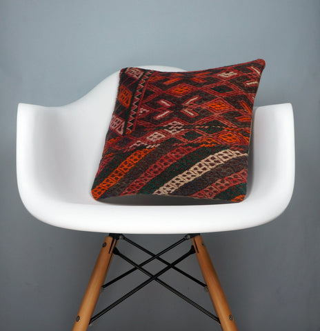 Geometric  handwoven chevron red black   pillow , Decorative Kilim pillow cover  2507 - kilimpillowstore  - 1