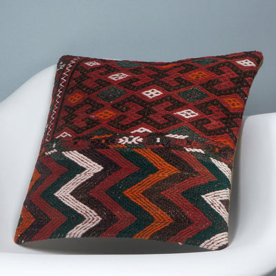 Geometric  handwoven chevron red black   pillow , Decorative Kilim pillow cover  2508 - kilimpillowstore  - 2