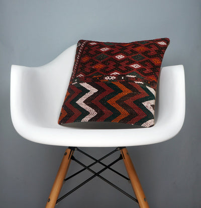 Geometric  handwoven chevron red black   pillow , Decorative Kilim pillow cover  2508 - kilimpillowstore  - 1