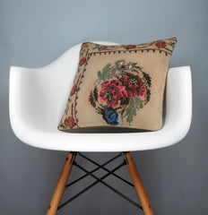 16x16 Vintage Hand Woven decorative Kilim Pillow  - Old  Kilim Cushion Beige Red, Floral, 2532 - kilimpillowstore  - 1