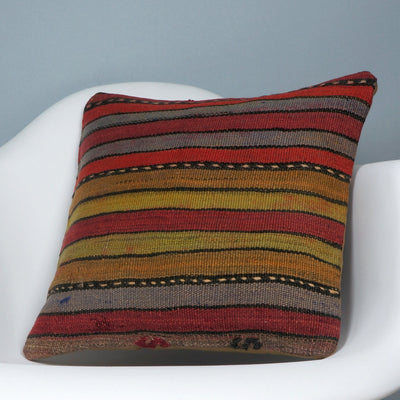 Ethnic decorative pillow cover , Bohemian pillow case, Modern home decor Striped Multi colour handwoven pillow ,2679 - kilimpillowstore  - 2